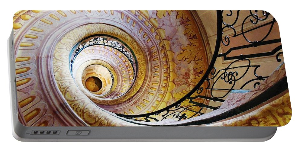 Architectural Portable Battery Charger featuring the photograph Spiral Staircase by Lisa Kilby