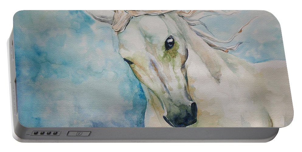 Horse Portable Battery Charger featuring the painting Spirit by Tamer and Cindy Elsharouni