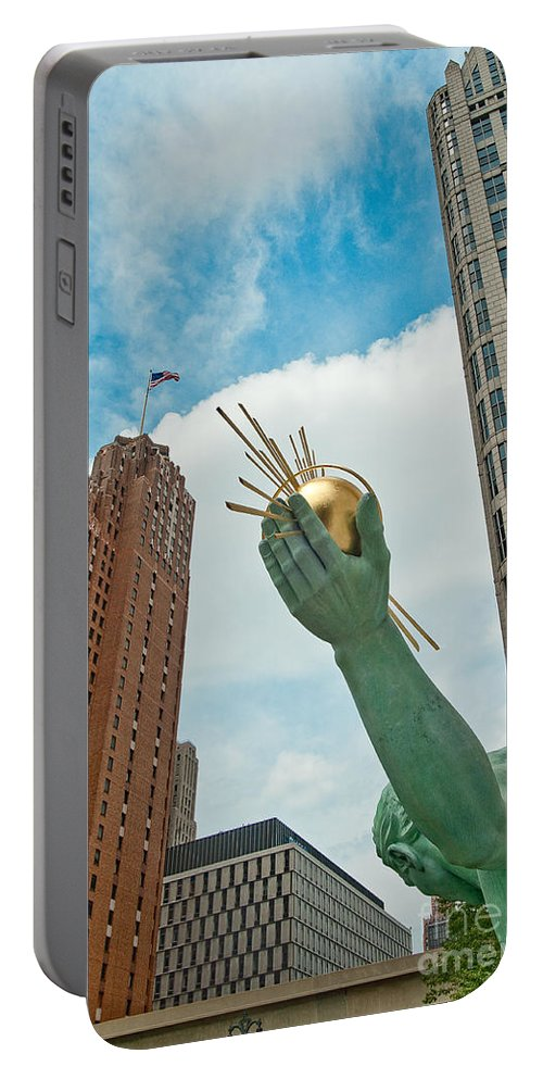 Detroit Portable Battery Charger featuring the photograph Spirit Of Detroit's Left Hand by Steven Dunn