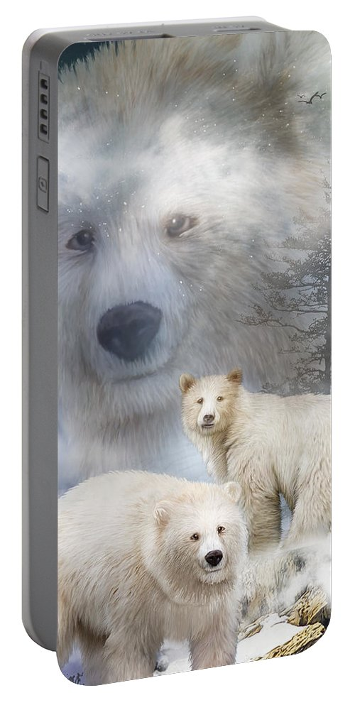 White Bears Portable Battery Charger featuring the mixed media Spirit Of The White Bears by Carol Cavalaris