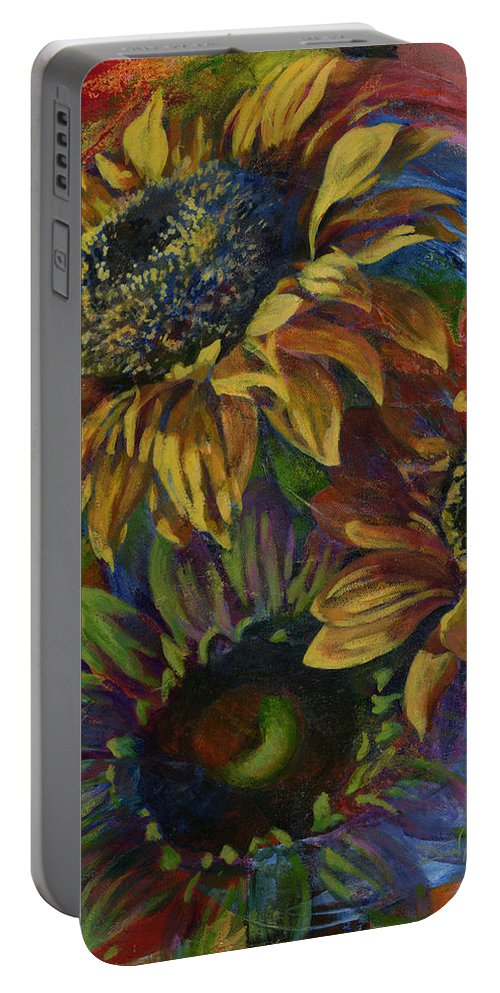 Sunflowers Portable Battery Charger featuring the painting Spiritual Growth by Don Michael Jr