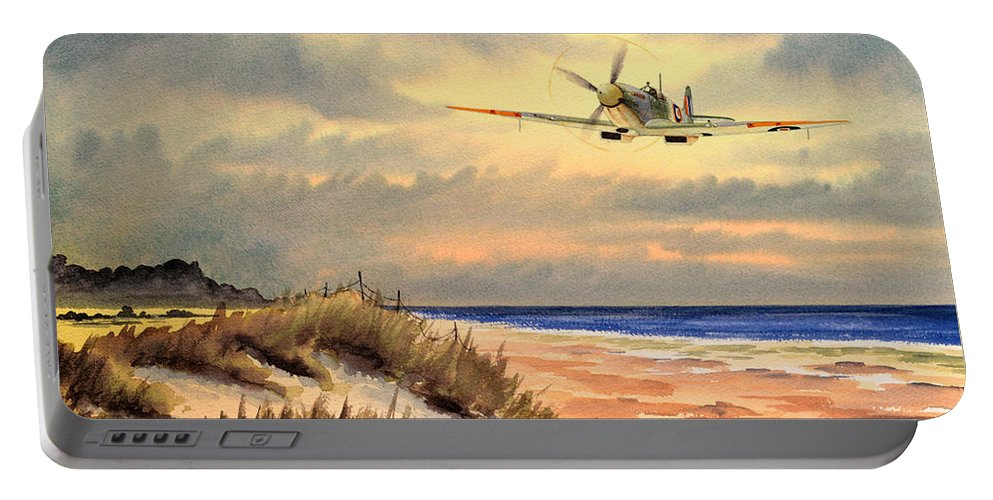 Aircraft Portable Battery Charger featuring the painting Spitfire Mk9 - Over South Coast England by Bill Holkham