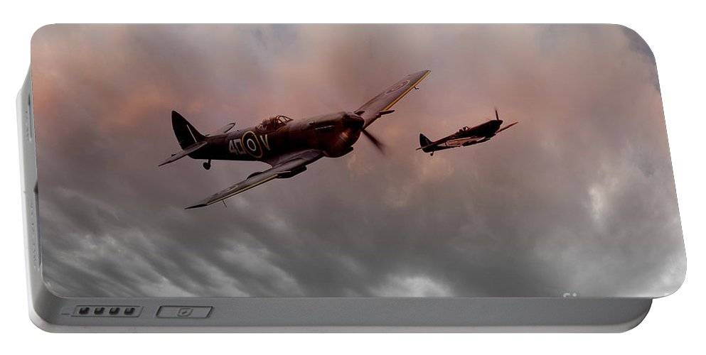 Spitfire Portable Battery Charger featuring the digital art Spitfires Nightfall by J Biggadike