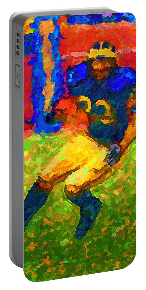 Football Portable Battery Charger featuring the painting Splash Color Cut by John Farr