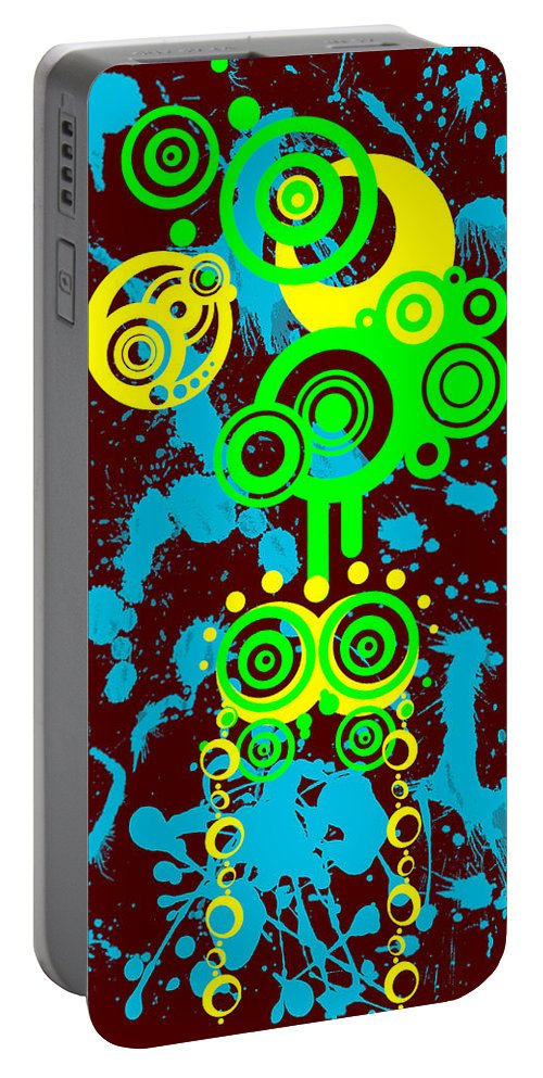 Red Portable Battery Charger featuring the digital art Splattered Series 1 by Teri Schuster
