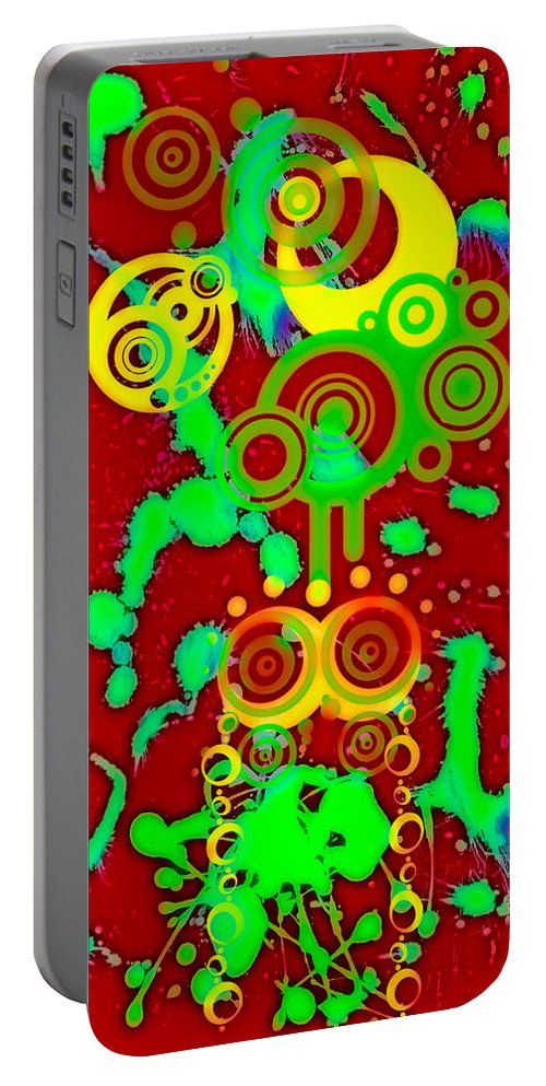 Red Portable Battery Charger featuring the digital art Splattered Series 10 by Teri Schuster