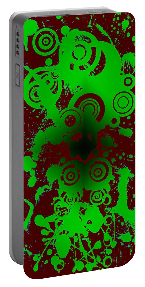 Red Portable Battery Charger featuring the digital art Splattered Series 12 by Teri Schuster