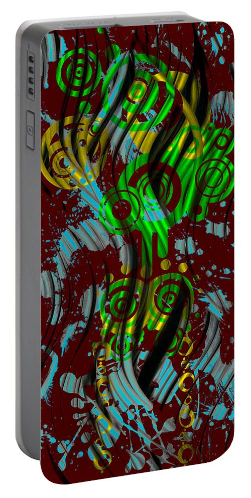 Red Portable Battery Charger featuring the digital art Splattered Series 2 by Teri Schuster
