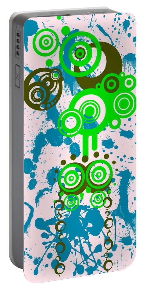 Pink Portable Battery Charger featuring the digital art Splattered Series 4 by Teri Schuster