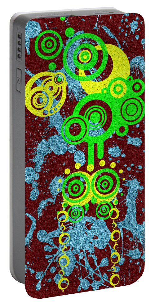 Red Portable Battery Charger featuring the digital art Splattered Series 6 by Teri Schuster