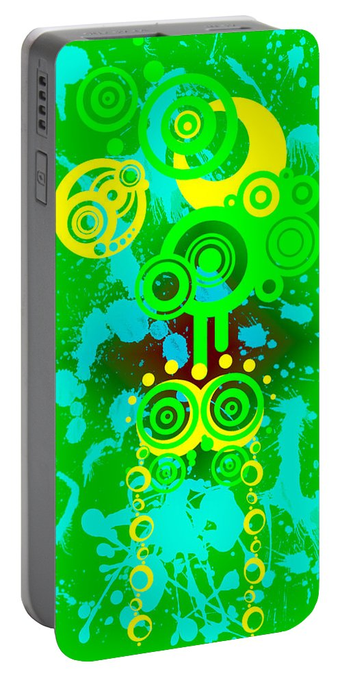 Yellow Portable Battery Charger featuring the digital art Splattered Series 7 by Teri Schuster