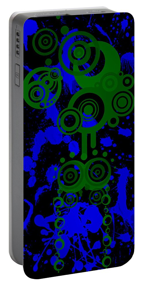 Green Portable Battery Charger featuring the digital art Splattered Series 8 by Teri Schuster