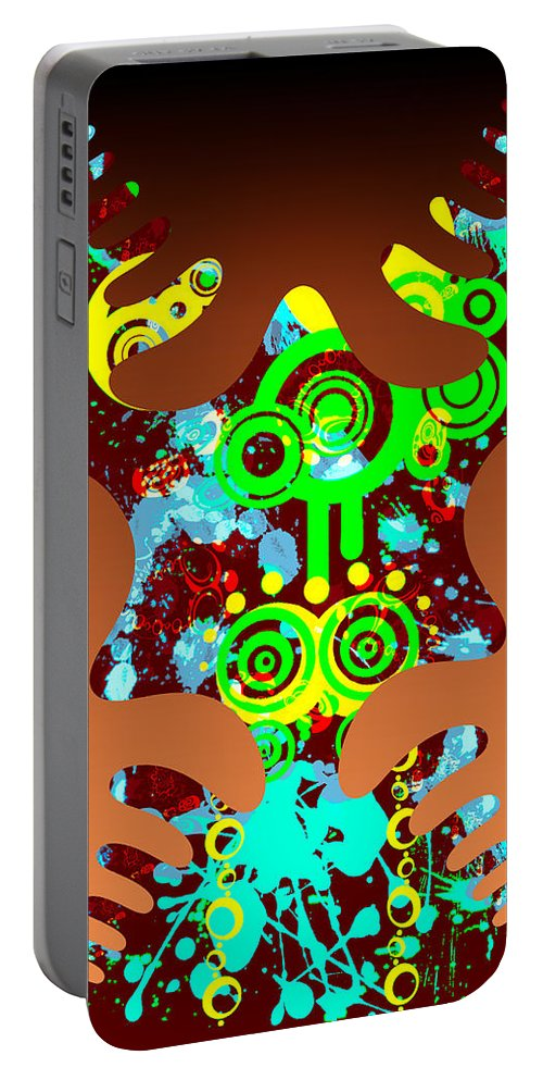 Black Portable Battery Charger featuring the digital art Splattered Series 9 by Teri Schuster