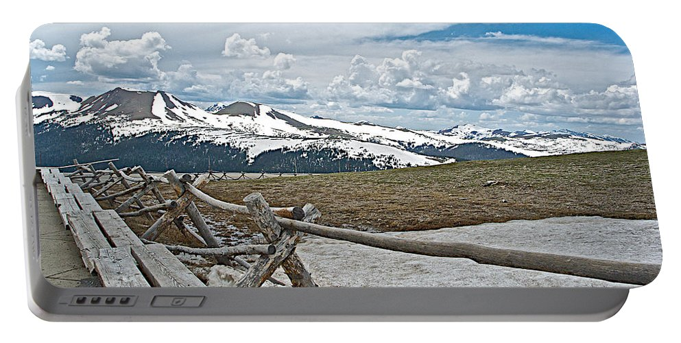 Split Rail Fence Near Alpine Visitor's Center In Rocky Mountain Np Portable Battery Charger featuring the photograph Split Rail Fence Near Alpine Visitor's Center In Rocky Mountain Np-co by Ruth Hager