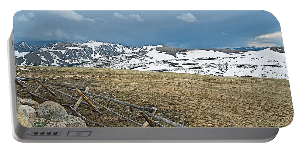 Split Rail Fence On East Side Of Trail Ridge Road In Rocky Mountain Np Portable Battery Charger featuring the photograph Split Rail Fence On East Side Of Trail Ridge Road In Rocky Mountain National Park-colorado by Ruth Hager
