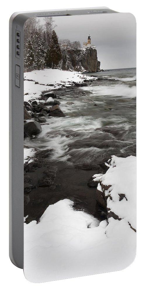 Split Portable Battery Charger featuring the photograph Split Rock Lighthouse Winter 17 by John Brueske