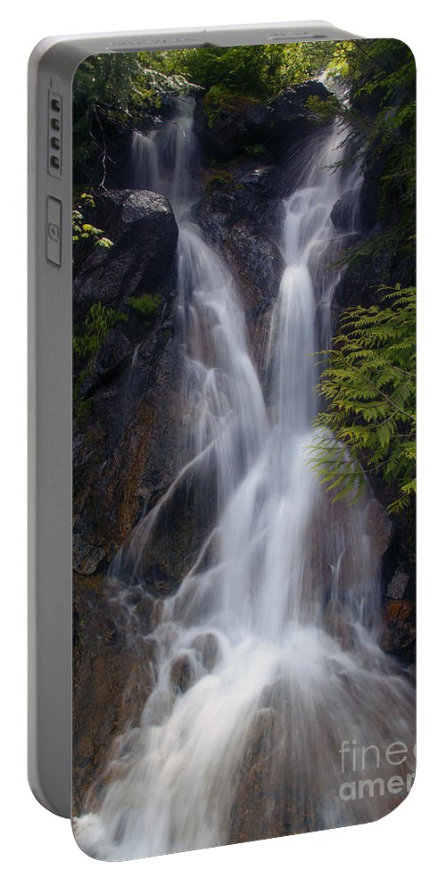 Waterfall Portable Battery Charger featuring the photograph Split Top Falls by Mike Dawson