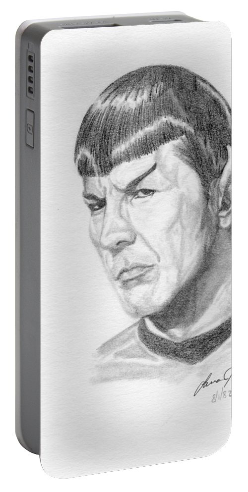 Star Trek Portable Battery Charger featuring the drawing Spock by Lana Tyler