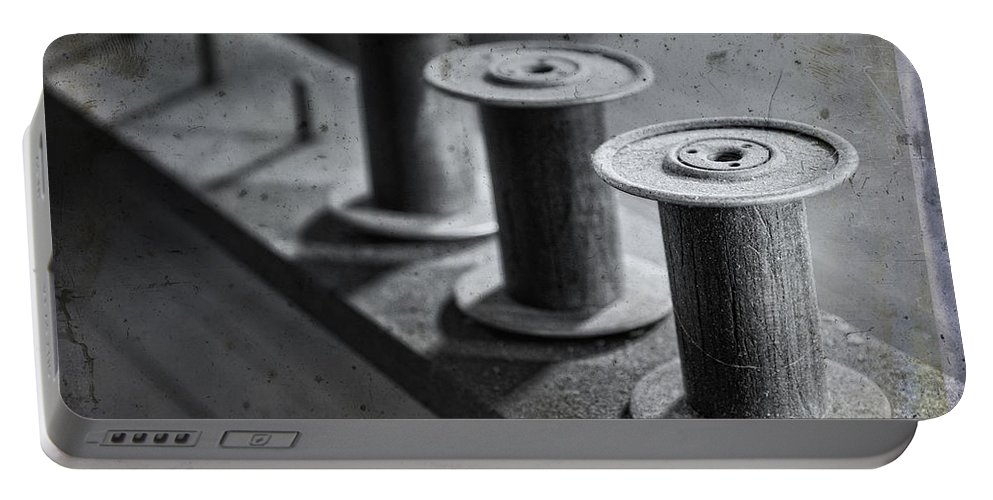 Spools Portable Battery Charger featuring the digital art Spools by Claudia Kuhn