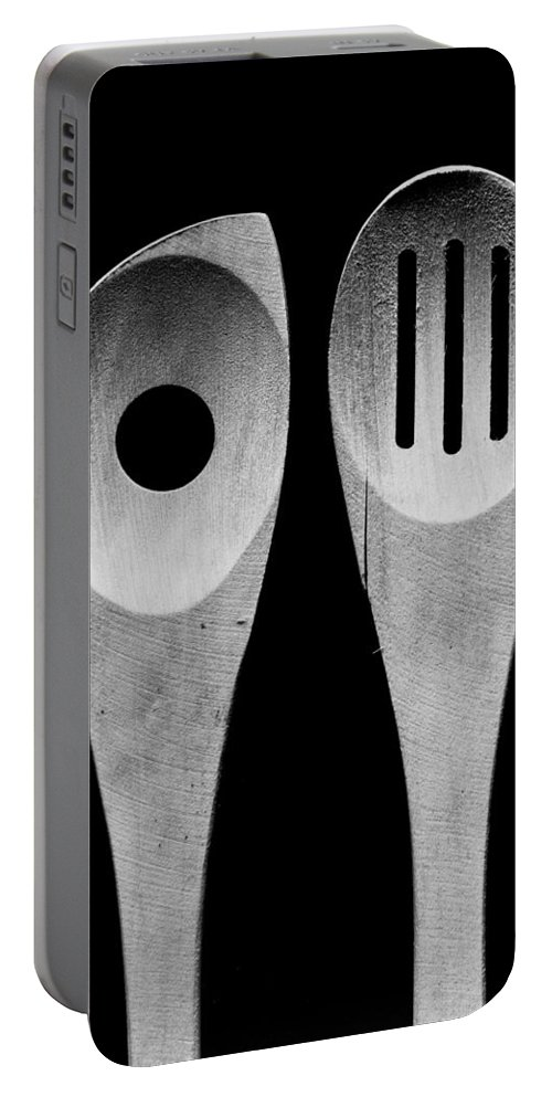 Large Format Portable Battery Charger featuring the photograph Spoons by Alex Snay