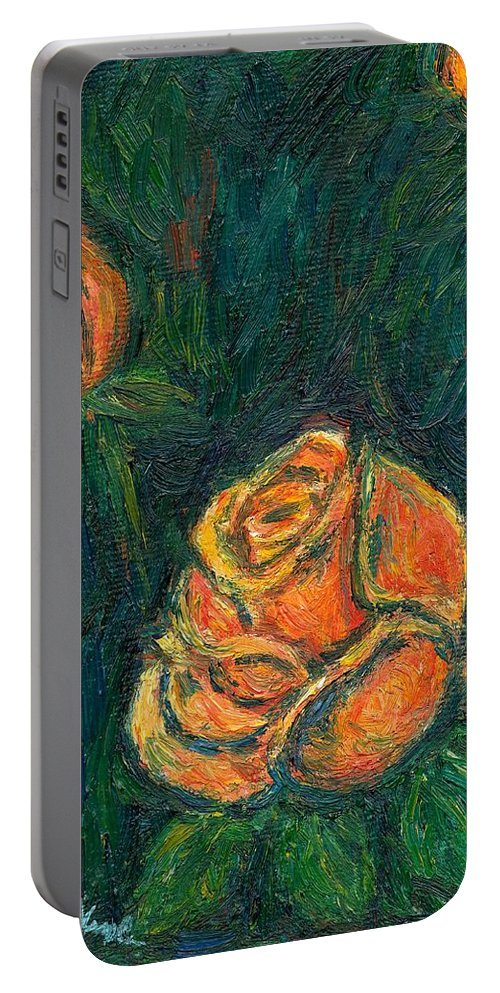 Kendall Kessler Portable Battery Charger featuring the painting Spotlight Rose by Kendall Kessler