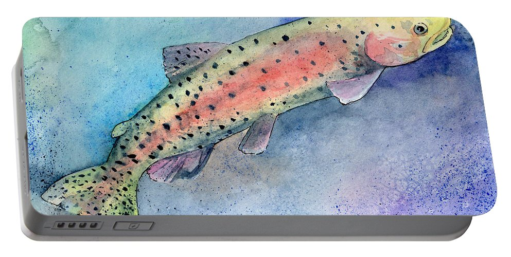 Trout Portable Battery Charger featuring the painting Spotted Trout by Sean Parnell