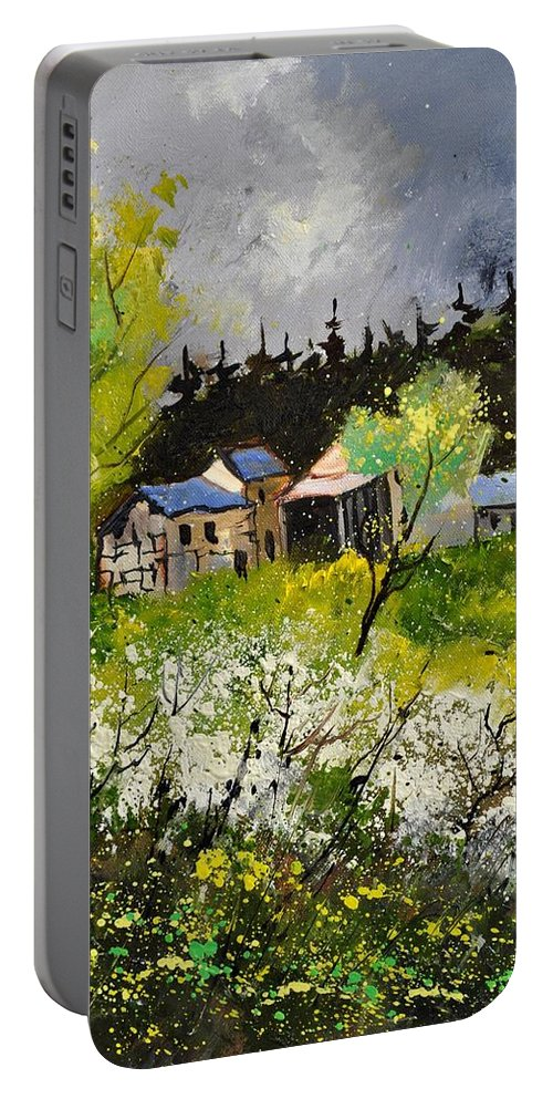 Landscape Portable Battery Charger featuring the painting Spring 454140 by Pol Ledent