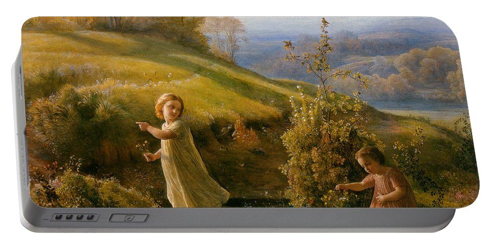 Anne Francois Louis Janmot Portable Battery Charger featuring the digital art Spring by Anne Francois Janmot
