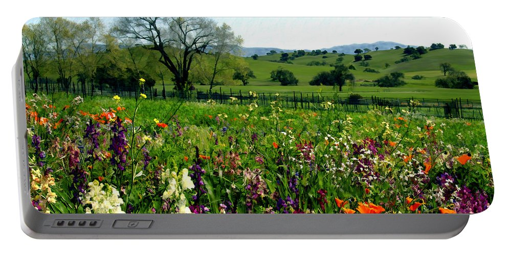 Flowers Portable Battery Charger featuring the photograph Spring Bouquet At Rusack Vineyards by Kurt Van Wagner
