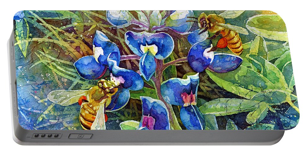 Bluebonnet Portable Battery Charger featuring the painting Spring Breeze by Hailey E Herrera