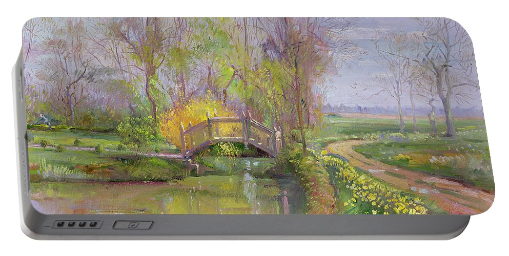 Path; Landscape; River; Countryside; Rural Portable Battery Charger featuring the painting Spring Bridge by Timothy Easton