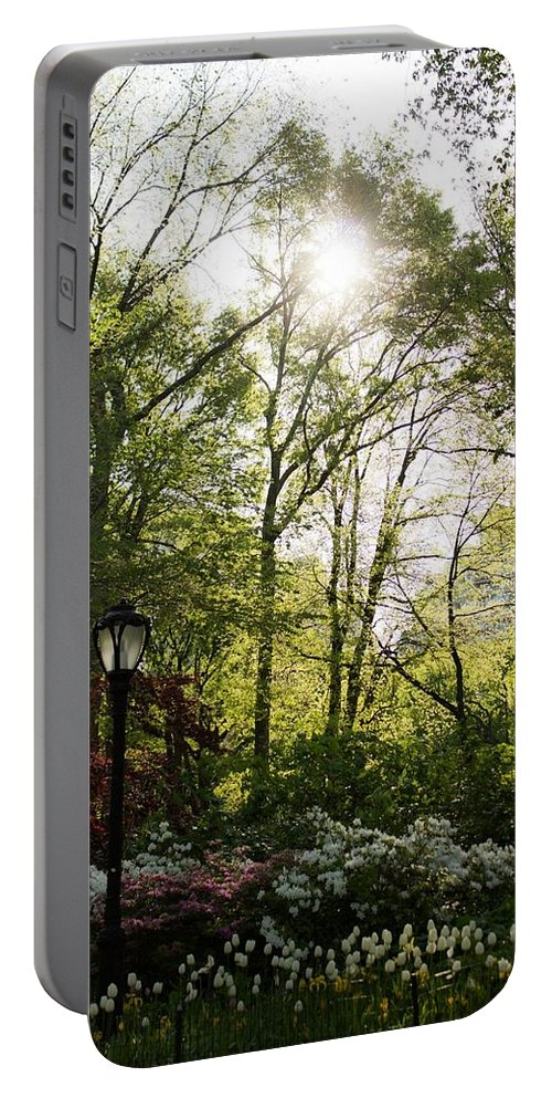 Spring Portable Battery Charger featuring the photograph Spring Day In The Park by Kathleen Odenthal