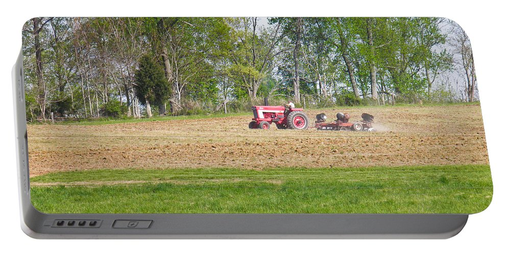 Tractor Portable Battery Charger featuring the photograph Spring Discing by Nick Kirby