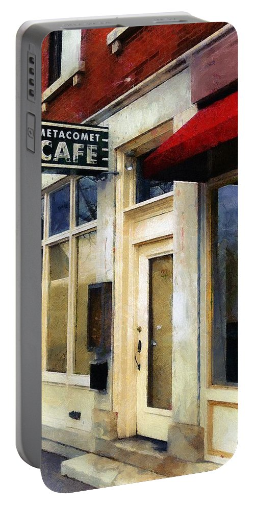 Amherst Portable Battery Charger featuring the painting Spring Evening In Amherst by RC DeWinter