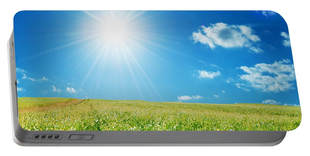 Landscape Portable Battery Charger featuring the photograph Spring Field With Flowers And Blue Sky by Michal Bednarek