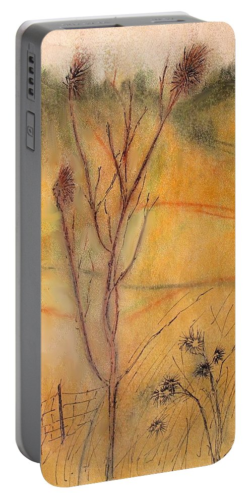 Spring Portable Battery Charger featuring the drawing Spring Fields by Ian MacDonald
