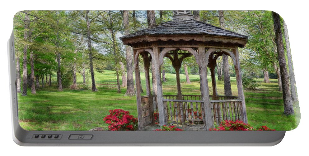 Nature Portable Battery Charger featuring the photograph Spring Gazebo Pastel Effect by Debbie Portwood