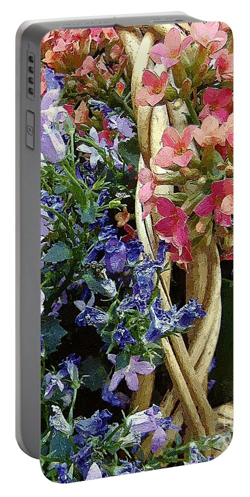 Basket Portable Battery Charger featuring the painting Spring In A Basket by RC DeWinter