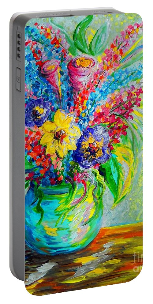 Seasons Portable Battery Charger featuring the painting Spring In A Vase by Eloise Schneider Mote