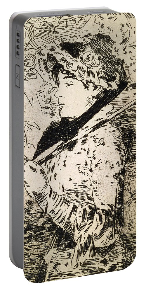 Woman Portable Battery Charger featuring the drawing Spring  Jeanne by Edouard Manet