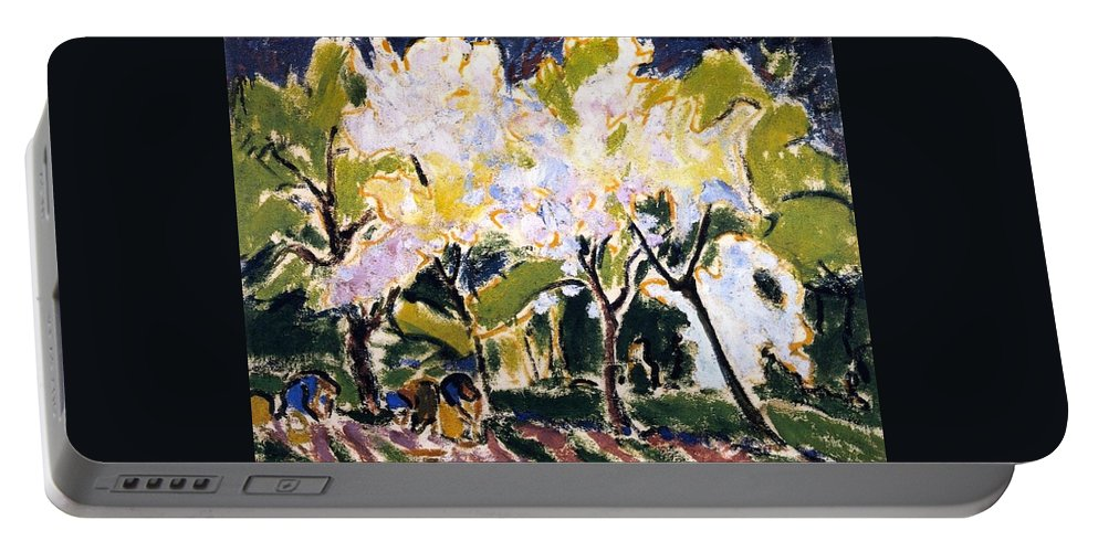 1909 Portable Battery Charger featuring the painting Spring Landscape by Ernst Ludwig Kirchner