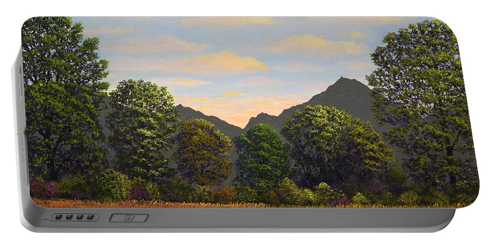 Spring Meadow At Sutter Buttes Portable Battery Charger featuring the painting Spring Meadow At Sutter Buttes by Frank Wilson