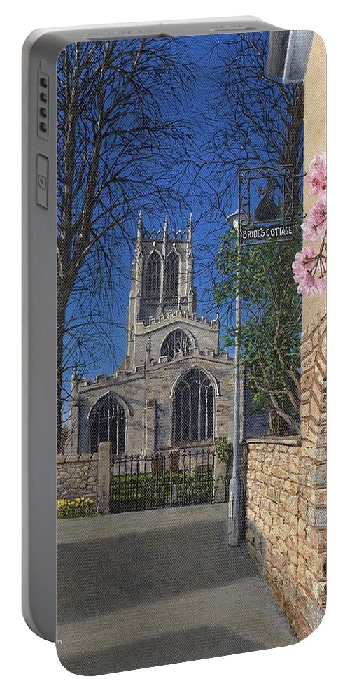 Landscape Portable Battery Charger featuring the painting Spring Morning Brides Cottage Tickhill Yorkshire by Richard Harpum