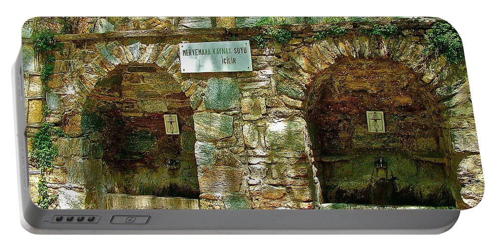 Spring Near Shrine To Mary-meryem Ana Evi-cottage Portable Battery Charger featuring the photograph Spring Near Shrine To Mary-meryem Ana Evi-turkey by Ruth Hager