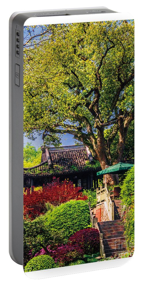 Green Portable Battery Charger featuring the painting Spring by Philip HP Wong