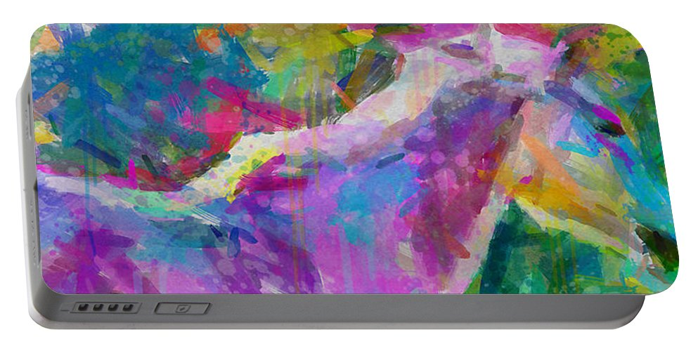 Horse Portable Battery Charger featuring the painting Spring Rain by Greg Collins