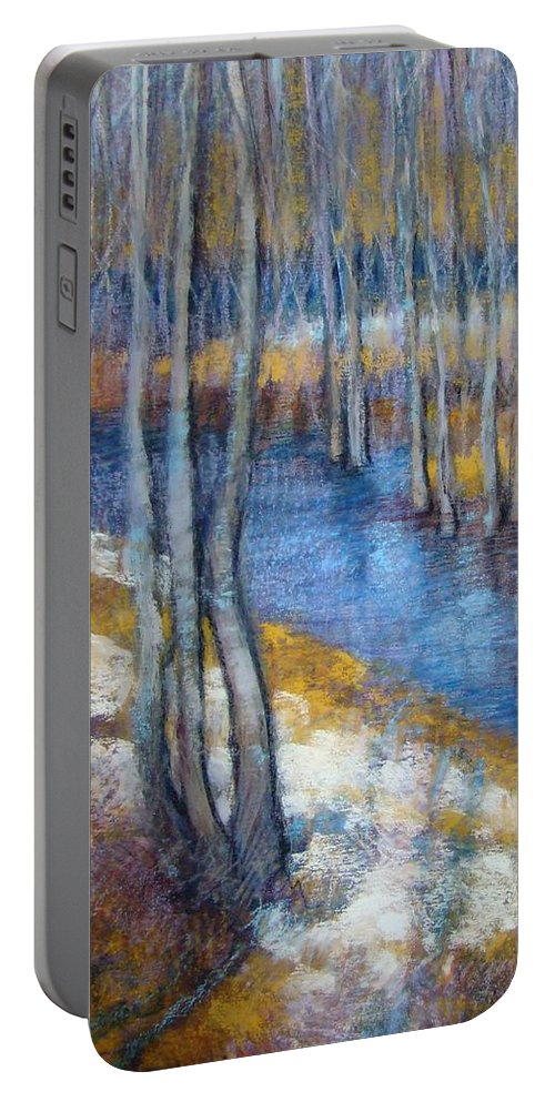 Landscape Portable Battery Charger featuring the pastel Spring River Thaw by Tonja Sell