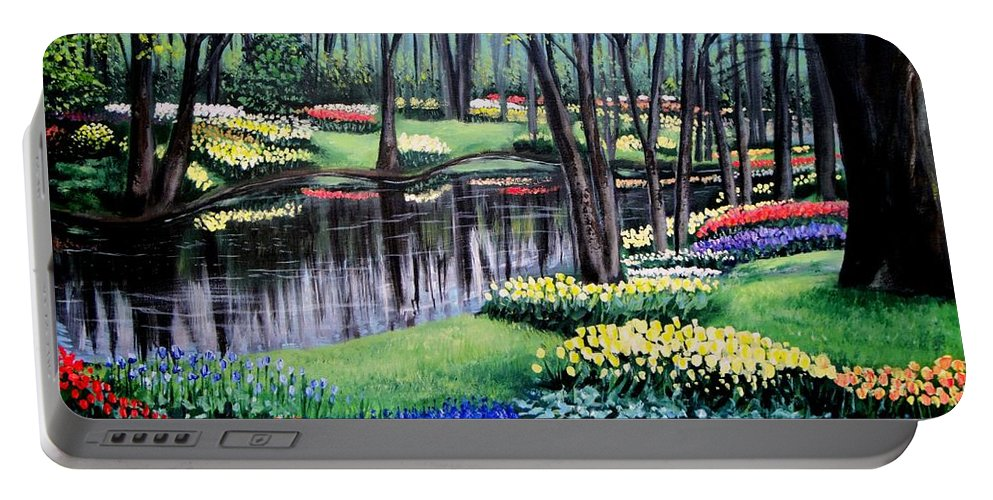 Garden Portable Battery Charger featuring the painting Spring Spendor Tulip Garden by Patricia L Davidson