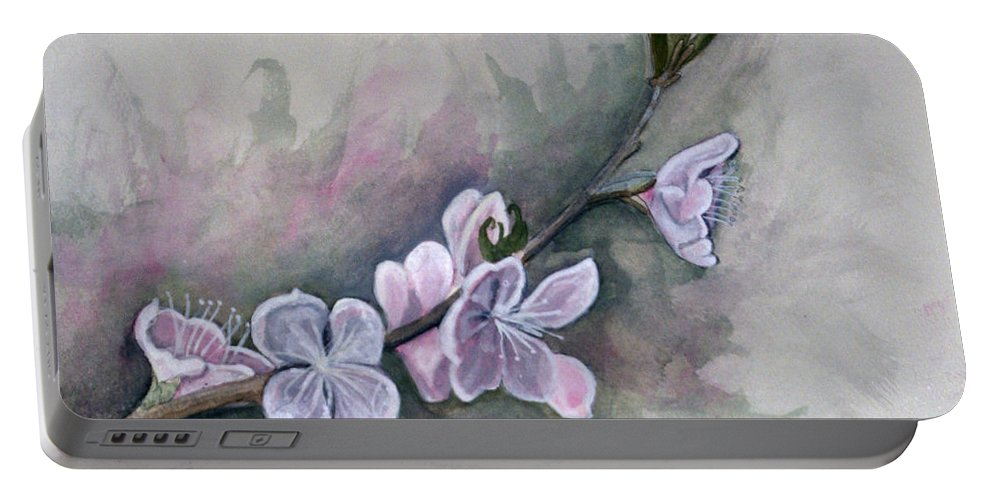 Rick Huotari Portable Battery Charger featuring the painting Spring Splendor by Rick Huotari