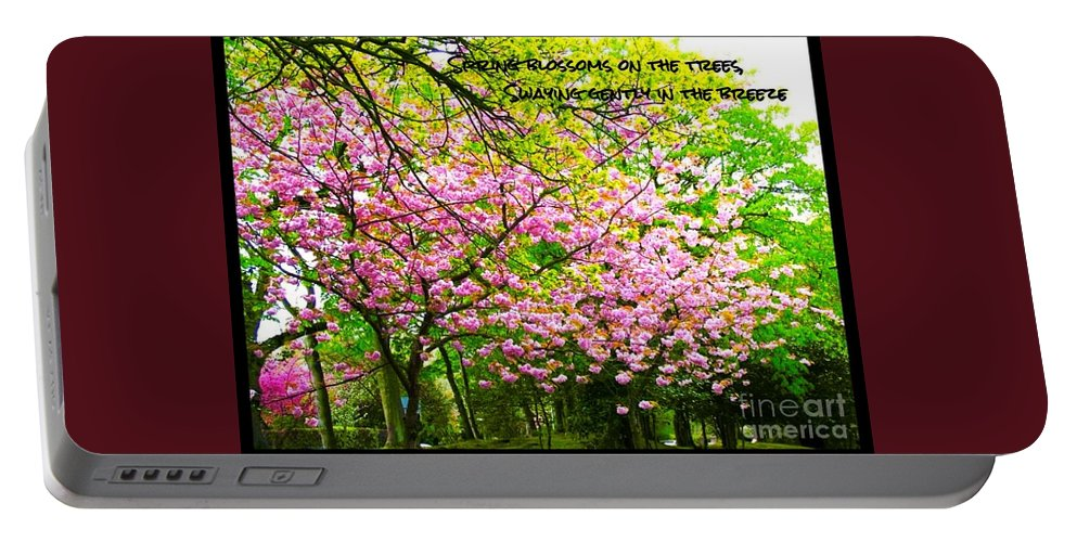 Cherry Blossoms Portable Battery Charger featuring the photograph Spring Tree Blossoms by Joan-Violet Stretch